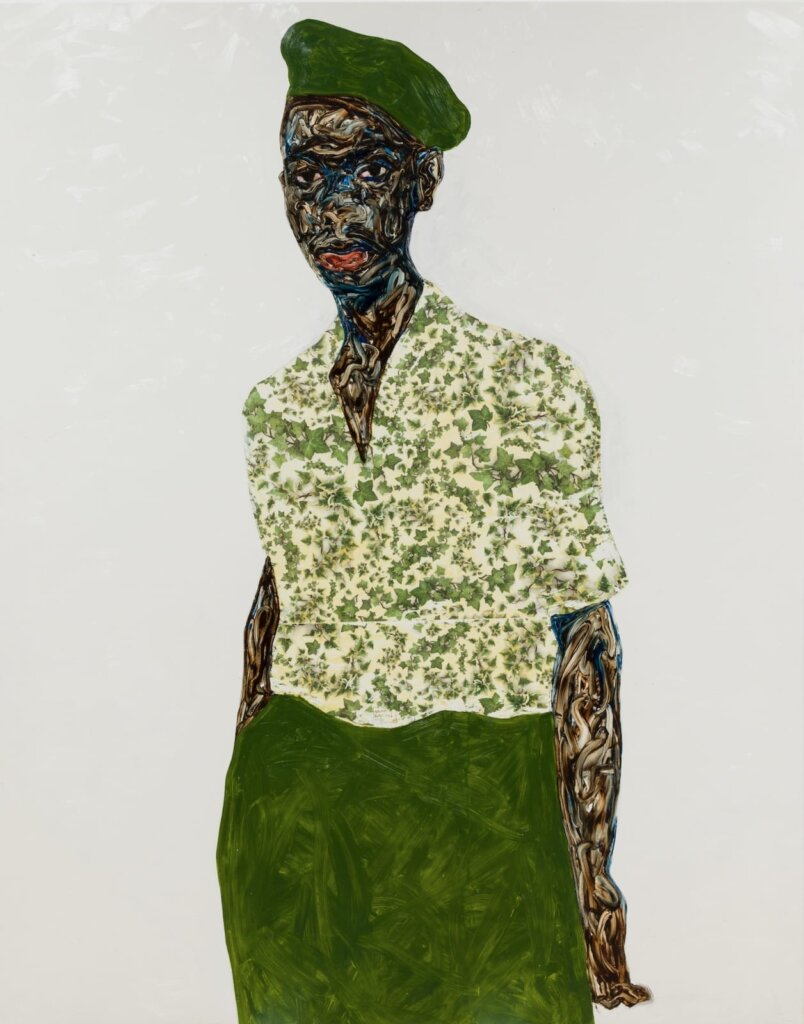 Amoako Boafo's Green Beret (2020). Oil on canvas. 85 × 63 in (216 × 160 cm).