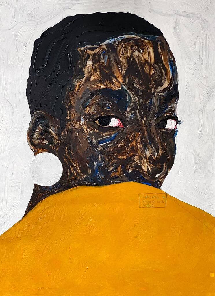 Amoako Boafo. Aurore Iradukunda (2020). Oil on paper.