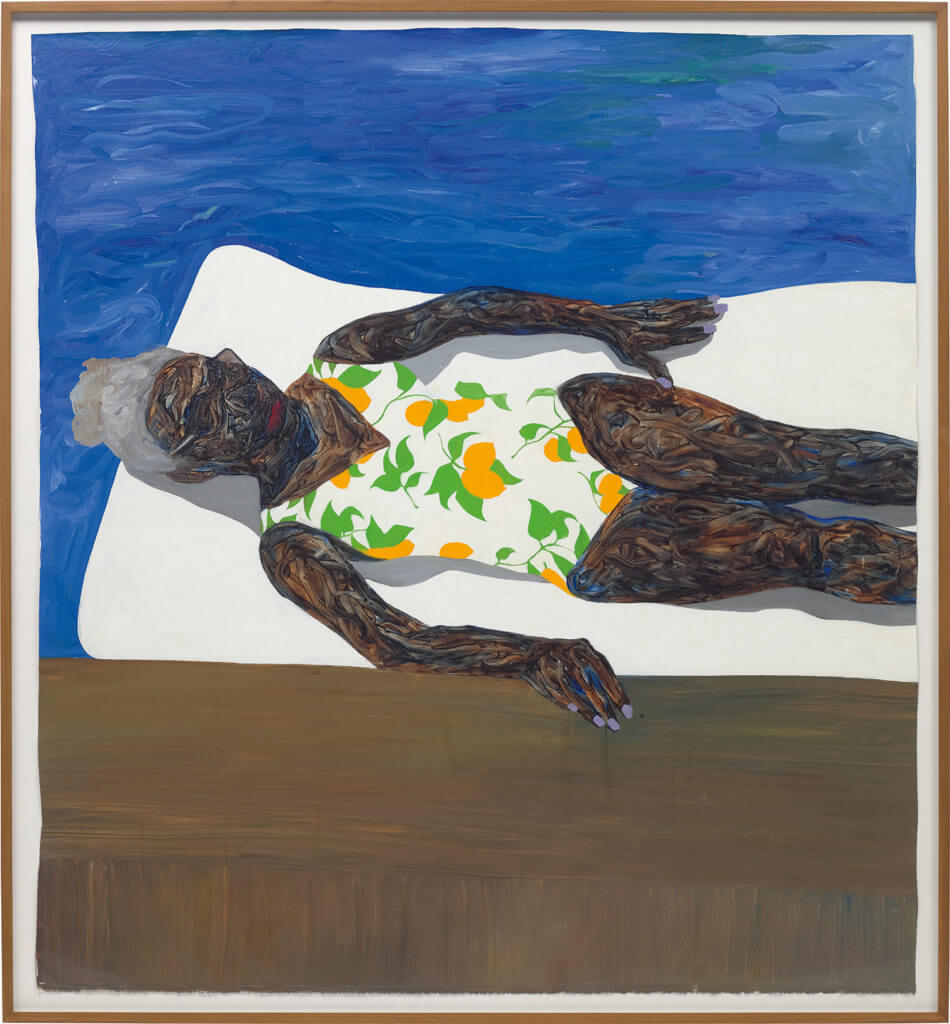 Amoako Boafo's The Lemon Bathing Suit (2019) sold for a stunning £675,000 ($881,432) against a £30,000 to £50,000 estimate ($39,130 to $65,217). Courtesy of Phillips contemporary art sale