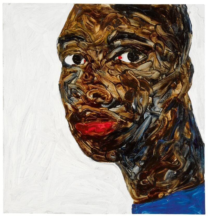Amoako Boafo, Untitled (Portrait of a Young Man) (2018